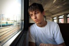 Унылый человек в поезде Стоковое Изображение