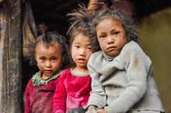 3 унылых девушки в Непале Стоковое фото RF