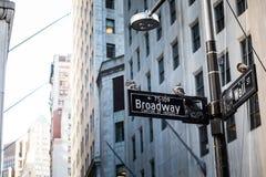 Уолл-Стрит подписывает внутри город Манхаттана, Нью-Йорк Стоковое Фото
