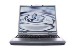 упадите вода монитора компьтер-книжки Стоковые Фотографии RF