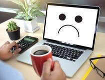 Упадочная концепция эмоций, смайлик стороны smiley напечатала depr Стоковое фото RF