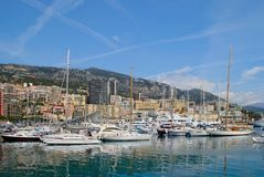 Упакованная гавань на Монте-Карло Стоковые Изображения