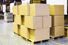упакованные коробки и коробки на деревянных паллетах Стоковые Изображения RF