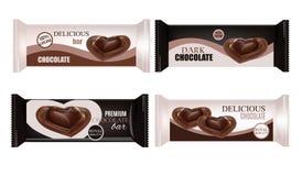Упаковка еды вектора для печенья, вафли, шутих, помадок, шоколадного батончика, шоколадного батончика, закусок Дизайн шоколадного Стоковое фото RF