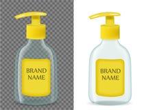 Упаковка жидкостного мыла реалистическая, с прозрачной предпосылкой модель-макет бутылки 3d для шаблона бренда также вектор иллюс иллюстрация штока