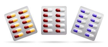 Упаковка таблеток Капсулы других цветов вектор иллюстрация штока