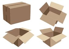 Упаковывая картонные коробки для различных продуктов Стоковое Изображение
