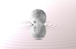 Упала луна над сценой воды выдуманной Стоковые Фото
