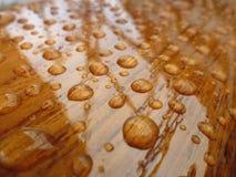 Упаденная вода на залакированной древесине Стоковые Фотографии RF