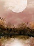 Упаденное дерево прудом иллюстрация штока