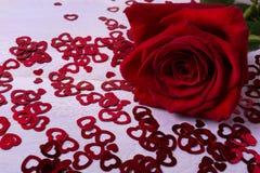 Упадите в концепцию влюбленности с красивой красной розой на малых сердцах Стоковая Фотография RF
