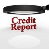 лупа 3D на справке о кредитоспособности Стоковое Фото