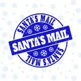Уплотнение печати круга Grunge почты Санта на Новый Год иллюстрация штока