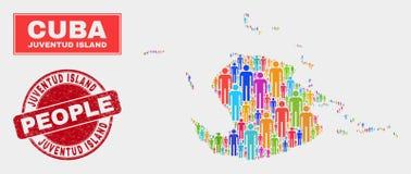 Уплотнение Demographics населения карты острова Juventud и печати Grunge бесплатная иллюстрация