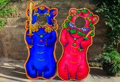 Упорки фото китайские лев или собака Bixie foo или standee Pixiu установили f стоковые изображения rf