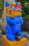Упорки фото китайские лев или собака Bixie foo или standee Pixiu установили f стоковое изображение rf