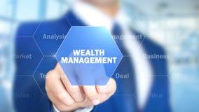 Управление богатства, человек работая на голографическом интерфейсе, визуальном экране стоковые изображения