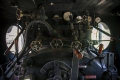 Управление винтажного локомотива пара Стоковое фото RF