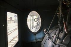 Управление винтажного локомотива пара Стоковое Фото