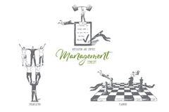 Управление, мотивация и контроль, организация, планируя эскиз концепции иллюстрация штока