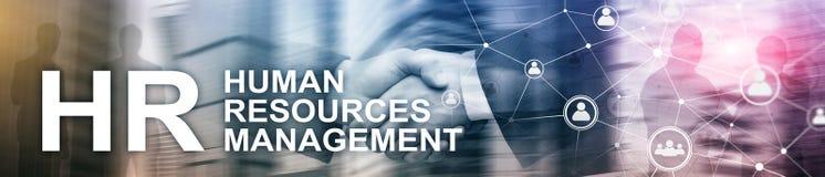 Управление человеческих ресурсов, HR, тимбилдинг и концепция рекрутства на запачканной предпосылке Знамя заголовка вебсайта стоковое фото