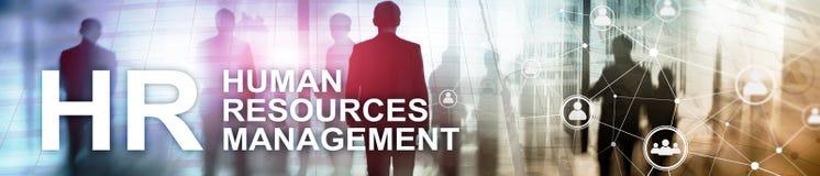 Управление человеческих ресурсов, HR, тимбилдинг и концепция рекрутства на запачканной предпосылке Знамя заголовка вебсайта стоковые изображения