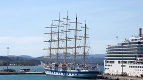 5 управляли высокорослым кораблем в Корфу Греции Стоковое Фото