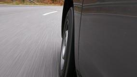 Управлять на проселочной дороге через лес - взгляд низко-угла сток-видео
