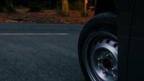 Управлять на проселочной дороге через лес на сумраке - взгляде низко-угла акции видеоматериалы