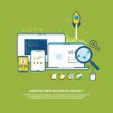 Управление, стратегия, цифровой маркетинг, начинает вверх предпосылку концепции дела вектора иллюстрация вектора
