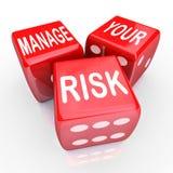 Управляйте вашими словами риска кость уменьшает пассивы цен Стоковая Фотография RF