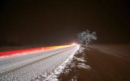 Управлять ночи зимы Стоковые Фото