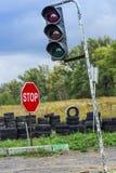 Управляя школа, тренировка водителя, дорога старых автошин Стоковая Фотография