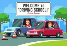 Управляя школа vector предпосылка с молодым счастливым водителем в автомобилях на дороге иллюстрация вектора