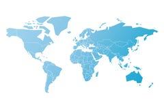 Упрощенная карта мира в сини Схематическая иллюстрация вектора Стоковые Изображения RF