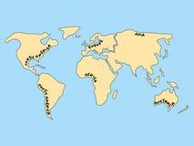 Упрощенная карта мира разделенная до 6 континентов Желтые земли и открытое море иллюстрация вектора