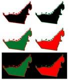 Упрощенная карта плана ОАЭ Объениненных Арабских Эмиратов Заполнение и s иллюстрация штока