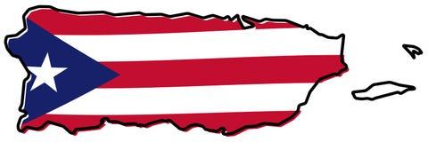 Упрощенная карта плана Пуэрто-Рико, с немножко изогнутым флагом u иллюстрация штока