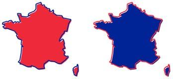 Упрощенная карта плана Франции Заполнение и ход национальный c иллюстрация штока