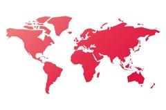 Упрощенный силуэт карты мира в розов-красном градиенте Иллюстрация вектора изолированная на белой предпосылке Стоковые Фото