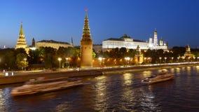 Упущение ночи гипер Москвы Кремля видеоматериал