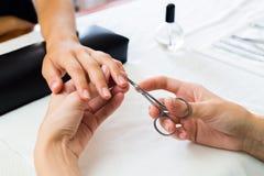 Уравновешивать Manicurist надкожицы клиентов Стоковое Фото