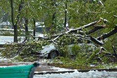 Ураган-поврежденный автомобиль стоковые фотографии rf