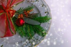 Урегулирование места рождества, плита, knive и вилка Стоковое Изображение