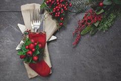 Урегулирование места таблицы Рожденственской ночи праздничное Стоковые Изображения