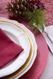 Урегулирование места таблицы традиционной красной темы праздничное Стоковые Изображения