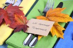 Урегулирования места благодарения в голубом, зеленой и желтой - крупный план Стоковое Изображение