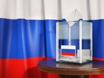 Урна для избирательных бюллетеней с флагом бумаг России и голосования Стоковая Фотография RF