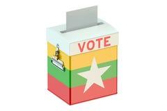 Урна для избирательных бюллетеней с флагом Мьянмы Стоковое Изображение RF