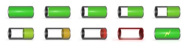 Уровень батареи на мобильном телефоне стоковая фотография rf